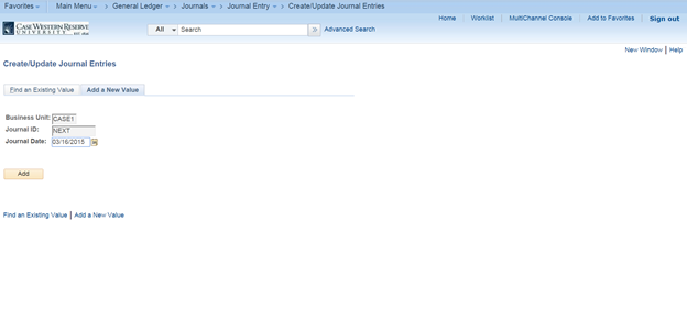 "Screenshot of the PeopleSoft Create/Update Journal Entries screen with the ""Business Unit"", ""Journal ID"", ""Journal Date"" fields all visible as well as the ""Add"" button"
