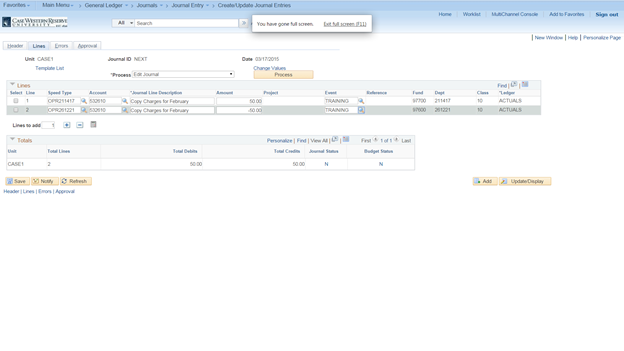 Screenshot of the PeopleSoft Create/Update Journal Entries screen with the Lines tab fields visible and two completed line entries