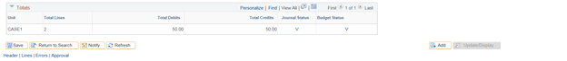 Screenshot of the Totals section with Journal Status and Budget Status updated