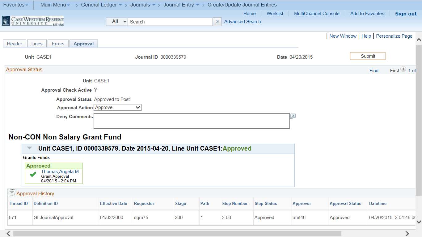 "Screenshot of the PeopleSoft Create/Update Journal Entries screen with the Approval tab visible and the ""Grant Funds Approved"" message added"
