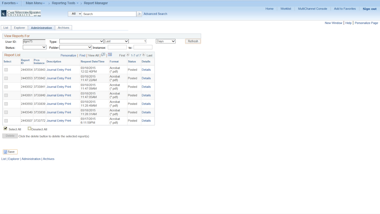 Screenshot of the PeopleSoft Report Manager screen with the Administration tab visible and a list of seven journal entries selected for printing