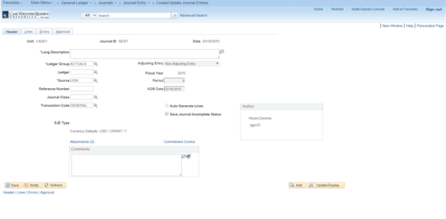 "Screenshot of the PeopleSoft Create/Update Journal Entries screen with the Header tab highlighted and the ""Unit"", ""Journal ID"", ""Date"", ""Long Description"" as well as extended date and ledger information"