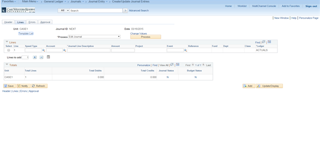 "Screenshot of the PeopleSoft Create/Update Journal Entries screen with the Lines tab visible including the fields for ""Speedtype"", ""Account Type"", ""Journal Line Description"" and ""Amount"" visible"