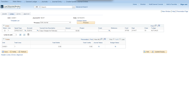 Screenshot of the PeopleSoft Create/Update Journal Entries screen with the Lines tab visible and all fields completed
