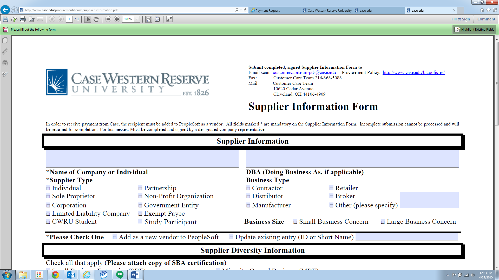 Screenshot of the printable CWRU Supplier Information Form