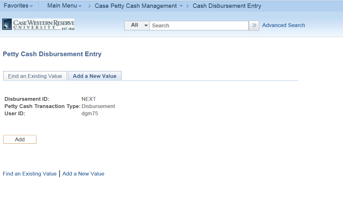 "Screenshot of the Petty Cash Disbursement Entry screen featuring completed ""Disbursement ID"", "" Petty Cash Transaction Type"" and ""User ID"" fields"