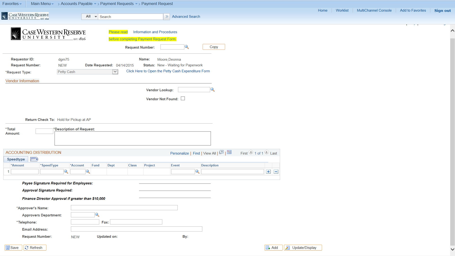 peoplesoft submitting a payment request for petty cash