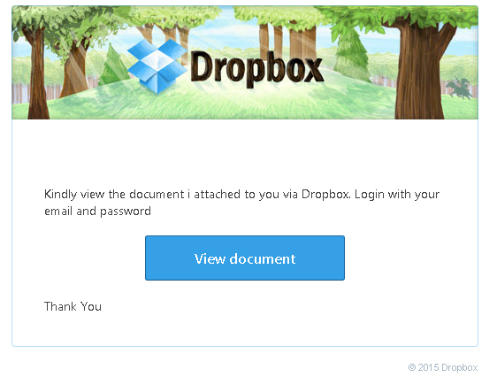 "Dropbox screen with a bad ""view document"" link, several grammatical errors and bad punctuation along with unconventional language such as ""kindly"""