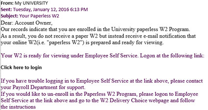 example featuring hr links in email