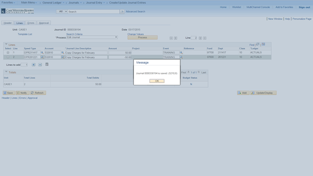 Screenshot of the PeopleSoft Create/Update Journal Entries screen with the Lines tab visible and a pop up message window visible with the Journal ID and a successful update message