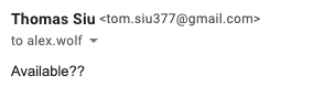 In this example the From field shows Tom Siu as tom.siu377@gmail.com, which is not a Case email address.