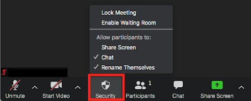 Zoom Security settings. Lock meeting, Enable waiting room, allow participants to share screen, chat, or rename.