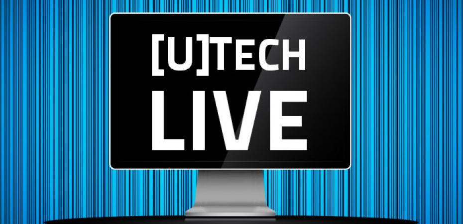 "The words ""UTech Live"" on a monitor with a blue and black background"