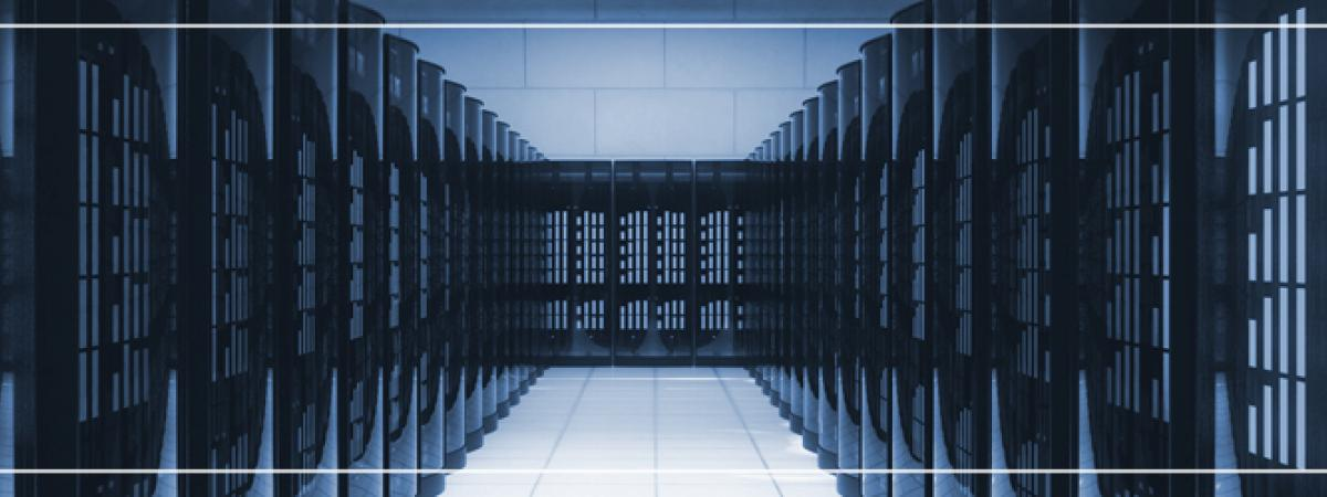 image of a server room shaded blue