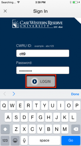 CWRU Single Sign on with Log in button highlighted