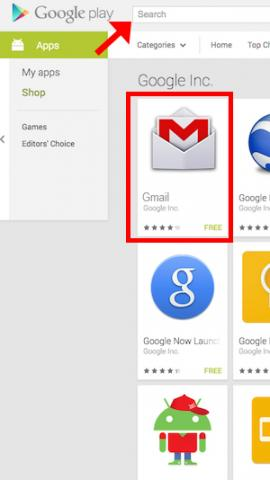 Play Store with Gmail App highlighted