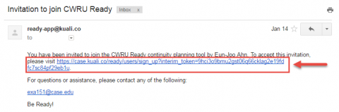Screenshot of email invite from Kuali with clickable invite url highlighted