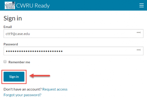 Screenshot of Cwru Ready Log in Screen with the Sign In button highlighted