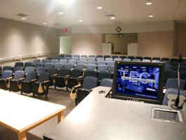 BRB 352 Classroom, empty room for TEC display, alternate view