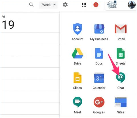 Arrow pointing to the Green Google Chat icon under the square grid icon when logged into Google Apps