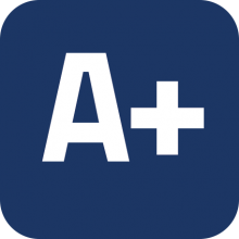 """A+"" icon on a blue background"