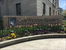 Outdoor Case Western Reserve University Sign with flowers