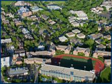 Overhead view of campus in spring