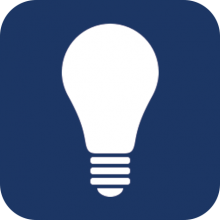 Lightbulb icon on a blue background