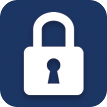 Lock icon on a blue background