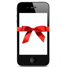 smart phone with a red ribbon bow around it