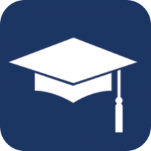 Graduation Cap icon on a blue background