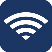 wifi signal icon on a blue background