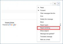 "Screenshot of top right corner Gmail dropdown with the ""Report Phishing"" option highlighted"