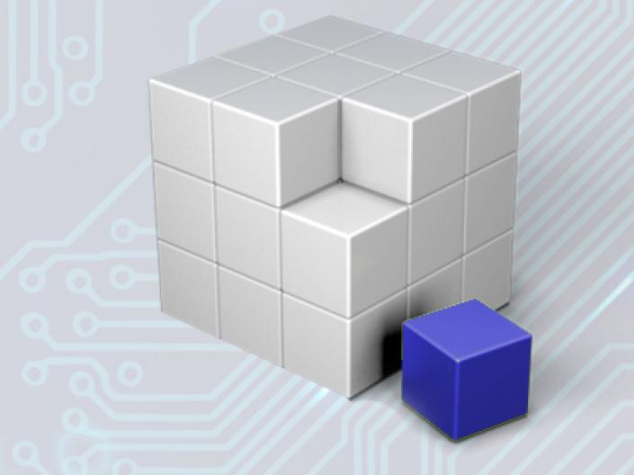 Grey cube with a missing blue corner cube sitting adjacent to it