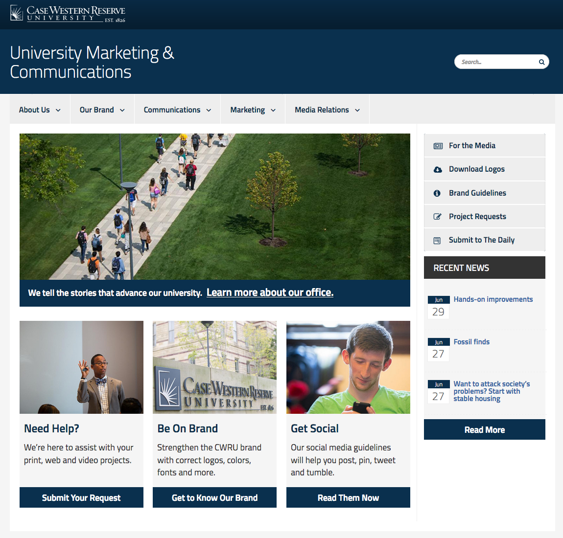Template Examples Web Content Management Case Western Reserve