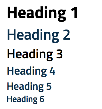 Screenshot that displays an example of heading sizes in Drupal from Heading 1 to Heading 6