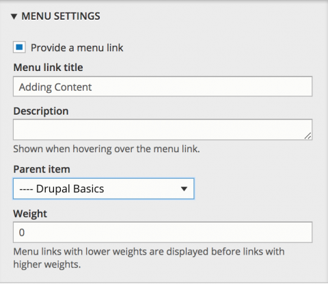 Menu Settings box in Drupal displaying the options for Menu link title, Description, Parent item drop-down and Weight