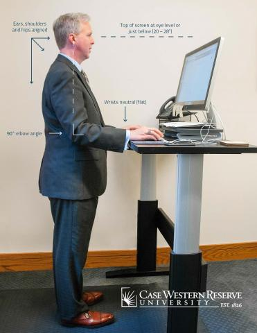 A man standing at a desk showing the correct angles your body should be at.